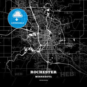 Black map poster template of Rochester, Minnesota, USA - HEBSTREITS
