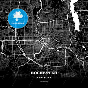 Black map poster template of Rochester, New York - HEBSTREITS