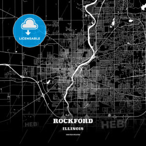 Black map poster template of Rockford, Illinois - HEBSTREITS