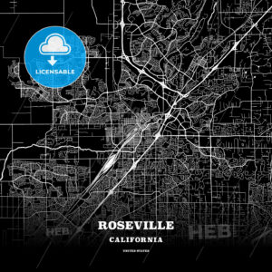 Black map poster template of Roseville, California - HEBSTREITS