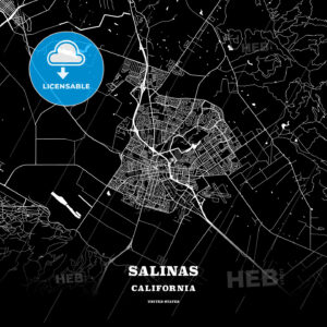 Black map poster template of Salinas, California - HEBSTREITS