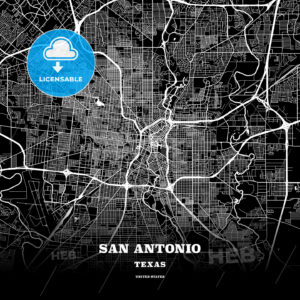 Black map poster template of San Antonio, Texas - HEBSTREITS
