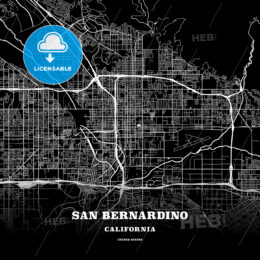 Black map poster template of San Bernardino, California, USA