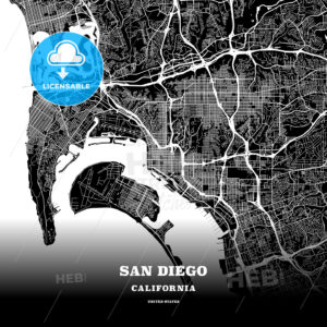 Black map poster template of San Diego, California - HEBSTREITS