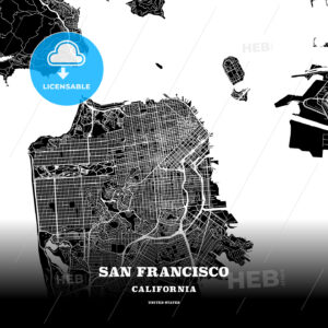 Black map poster template of San Francisco, California - HEBSTREITS