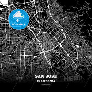 Black map poster template of San Jose, California - HEBSTREITS