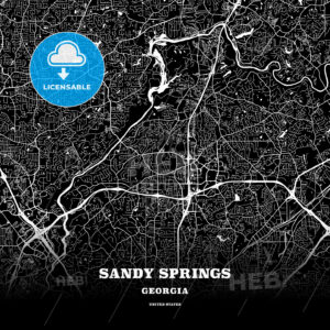 Black map poster template of Sandy Springs, Georgia - HEBSTREITS