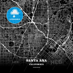 Black map poster template of Santa Ana, California - HEBSTREITS