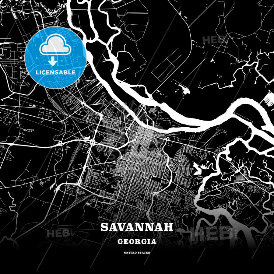 Black Map Poster Template Of Savannah Georgia Usa Hebstreits