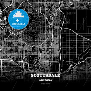 Black map poster template of Scottsdale, Arizona - HEBSTREITS