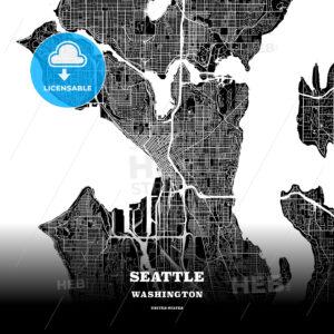 Black map poster template of Seattle, Washington - HEBSTREITS
