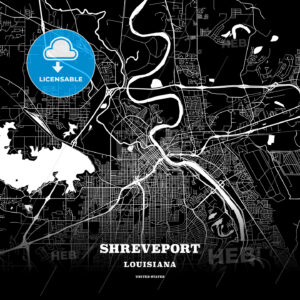 Black map poster template of Shreveport, Louisiana - HEBSTREITS