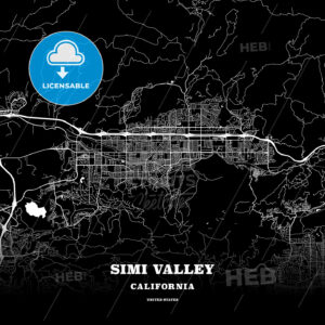 Black map poster template of Simi Valley, California - HEBSTREITS