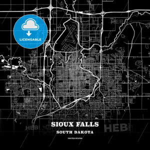 Black map poster template of Sioux Falls, South Dakota - HEBSTREITS