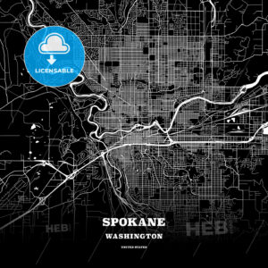 Black map poster template of Spokane, Washington - HEBSTREITS