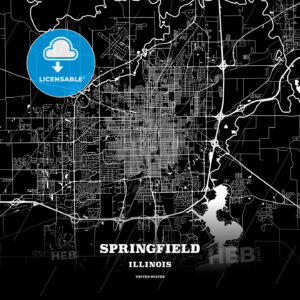 Black map poster template of Springfield, Illinois, USA - HEBSTREITS