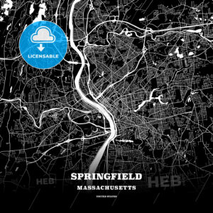 Black map poster template of Springfield, Massachusetts - HEBSTREITS