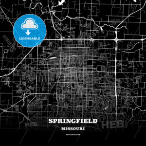 Black map poster template of Springfield, Missouri - HEBSTREITS