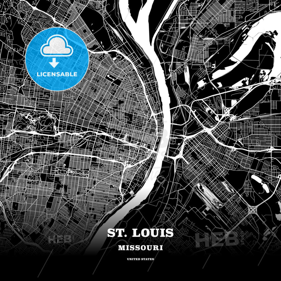 Black map poster template of St. Louis, Missouri - HEBSTREITS