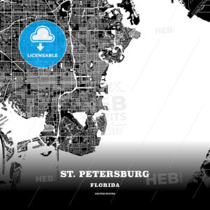 Black map poster template of St. Petersburg, Florida - HEBSTREITS