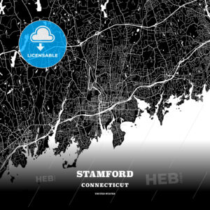 Black map poster template of Stamford, Connecticut - HEBSTREITS