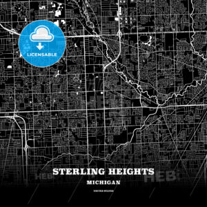 Black map poster template of Sterling Heights, Michigan - HEBSTREITS