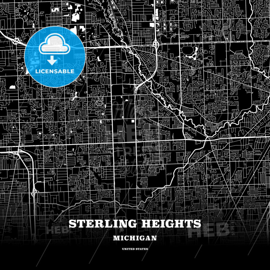 Black Map Poster Template Of Sterling Heights Michigan Usa