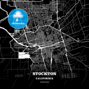 Black map poster template of Stockton, California - HEBSTREITS