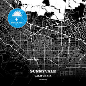 Black map poster template of Sunnyvale, California - HEBSTREITS