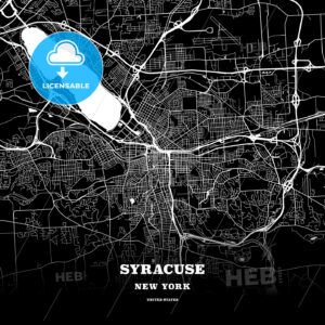 Black map poster template of Syracuse, New York, USA - HEBSTREITS