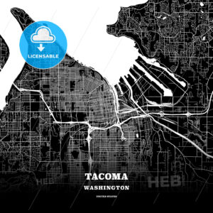 Black map poster template of Tacoma, Washington - HEBSTREITS