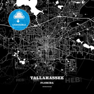 Black map poster template of Tallahassee, Florida - HEBSTREITS