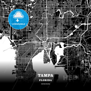 Black map poster template of Tampa, Florida - HEBSTREITS