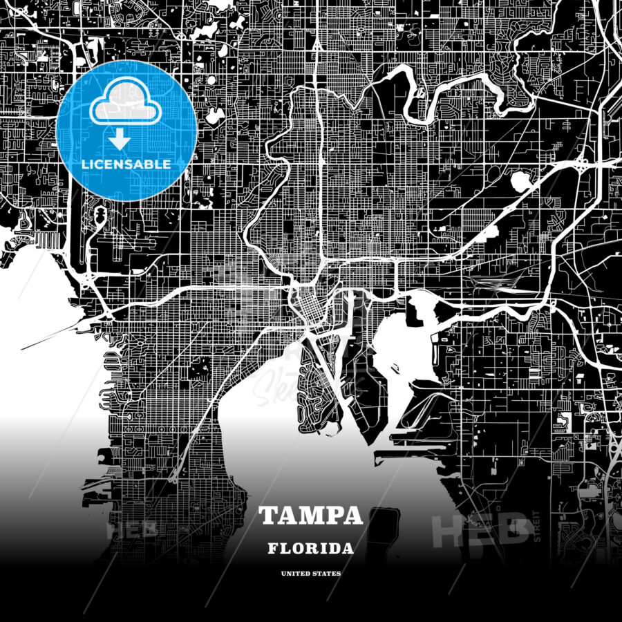 Black map poster template of Tampa, Florida | HEBSTREITS