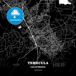 Black map poster template of Temecula, California, USA - HEBSTREITS