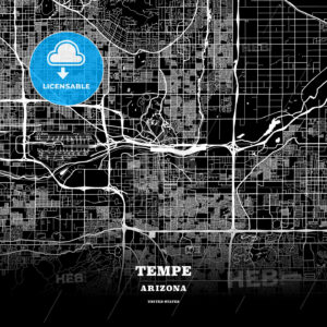 Black map poster template of Tempe, Arizona - HEBSTREITS