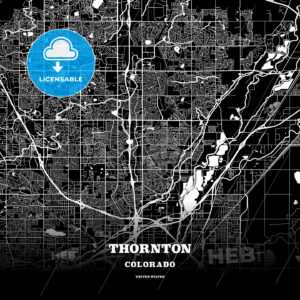 Black map poster template of Thornton, Colorado - HEBSTREITS