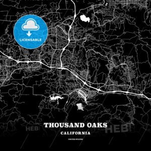 Black map poster template of Thousand Oaks, California - HEBSTREITS