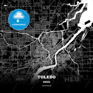 Black map poster template of Toledo, Ohio - HEBSTREITS