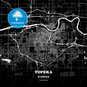 Black map poster template of Topeka, Kansas - HEBSTREITS