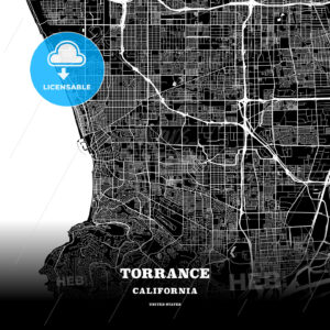 Black map poster template of Torrance, California - HEBSTREITS