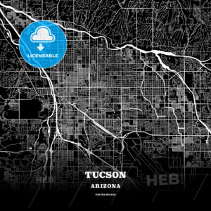 Black map poster template of Tucson, Arizona - HEBSTREITS