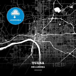 Black map poster template of Tulsa, Oklahoma - HEBSTREITS