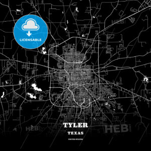 Black map poster template of Tyler, Texas - HEBSTREITS