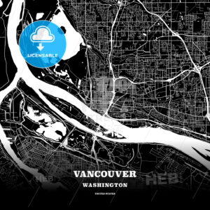 Black map poster template of Vancouver, Washington - HEBSTREITS