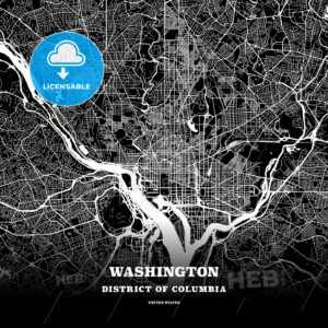 Black map poster template of Washington, District of Columbia - HEBSTREITS