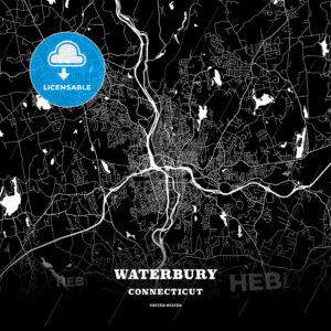 Black map poster template of Waterbury, Connecticut, USA - HEBSTREITS
