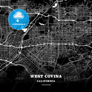 Black map poster template of West Covina, California, USA - HEBSTREITS