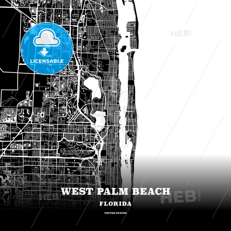 Black map poster template of West Palm Beach, Florida, USA - HEBSTREITS
