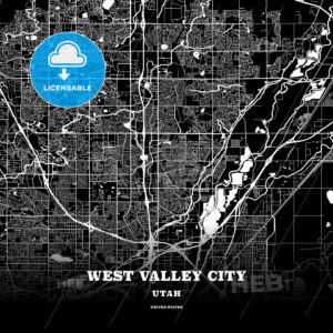 Black map poster template of West Valley City, Utah - HEBSTREITS